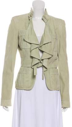Gucci Suede Ruffle-Trimmed Jacket