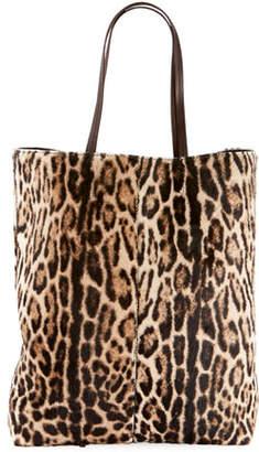 Saint Laurent Leopard-Print Hair Calf Tote Bag