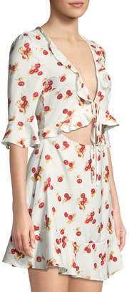 Haute Rogue Cherry-Print Tie-Front Mini Dress