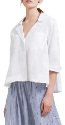 Donna Karan Quarter-Sleeve Cotton Button-Down Shirt