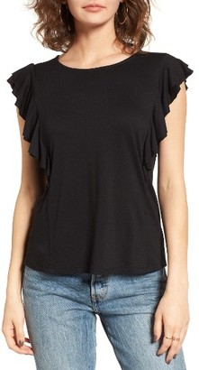 Women's June & Hudson Ruffle Sleeve Tee $39 thestylecure.com