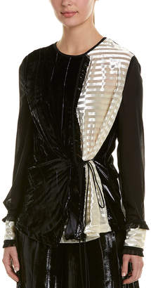 Yigal Azrouel Liquid Velvet Silk-Blend Top