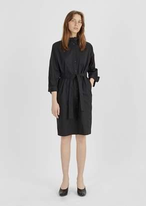 Atlantique Ascoli Cotton Ruffle Collar Shirtdress Black Poplin
