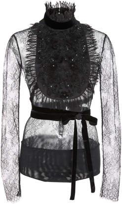 Murad Zuhair Velvet-Trimmed Ruffled Lace Bodysuit