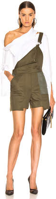 Monse Short Overalls in Olive | FWRD