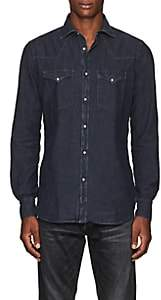 Bolzonella 1934 Men's Cotton Chambray Western Shirt-Black