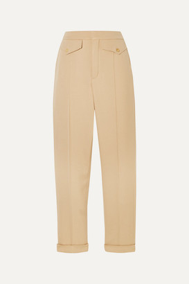 Chloé Pleated Wool-blend Twill Straight-leg Pants - Sand