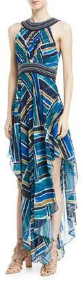 Talitha Collection Sleeveless Halter Painted-Print Dress with Handkerchief Hem