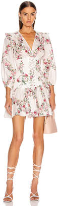 Zimmermann Honour Corset Short Dress in Cream Floral | FWRD