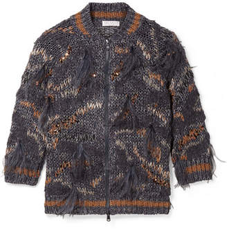 Brunello Cucinelli Feather And Sequin-embellished Metallic Cotton-blend Cardigan - Blue