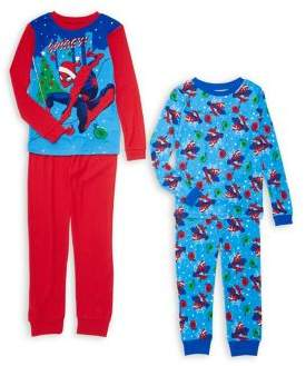 AME Sleepwear Little Boy's & Boy's Two-Pack Spider-Man Holiday Pajama Set