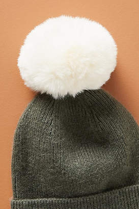 Anthropologie Pick-A-Pom Faux Fur Beanie Topper