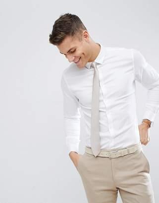Asos Design DESIGN wedding skinny herringbone shirt with double cuff