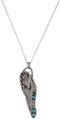 Mother of Pearl Colette Jewelry Diamond Pave and Wing Pendant Necklace