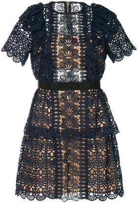 Self-Portrait embroidered a-line dress