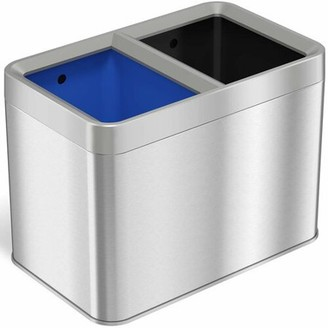 iTouchless 5.3 Gallon Open Top Trash Can & Recycle Bin Dual Compartment Combo