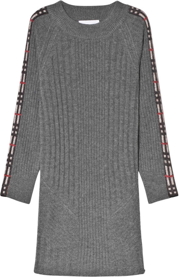 Burberry Grey Melange Cathina Knit Dress with Check Detail