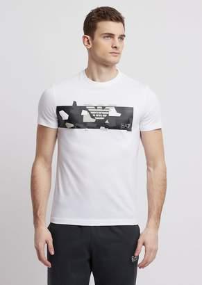 Emporio Armani Ea7 Pure Cotton T-Shirt With Camo Logo