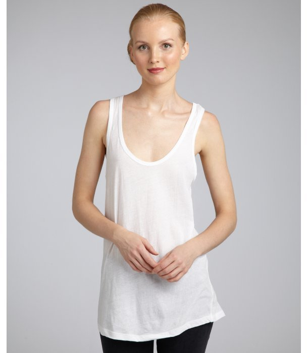 LnA white cotton jersey 'X-Long' tank