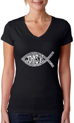 LOS ANGELES POP ART Los Angeles Pop Art Women's Word Art V-Neck T-Shirt - John 3:16 Fish Symbol
