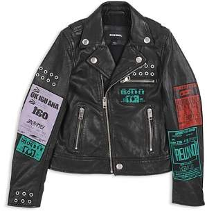 Diesel Boys' Tour-Patch Graphic Leather Moto Jacket - Big Kid