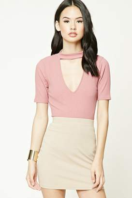 Forever 21 Ribbed Cutout-Front Top