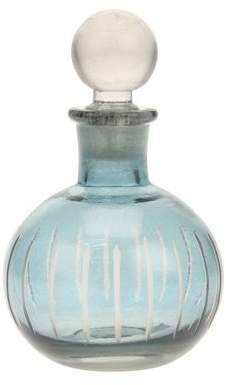 Stonebriar Collection Small Light Blue Round Cut Glass Bottle with Stopper