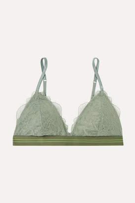 Love Stories - Darling Stretch-lace Triangle Bra - Gray green