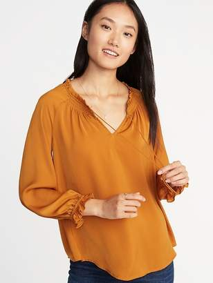 Old Navy Relaxed Satin Poet-Sleeve Blouse for Women