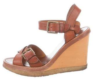 Isabel Marant Leather Ankle-Strap Wedges