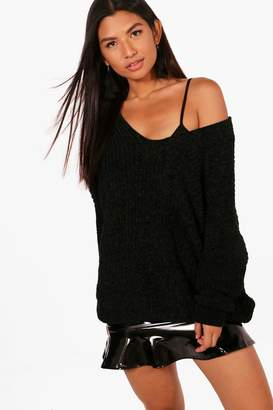 boohoo Oversized Slouchy V-Neck Chenille Sweater