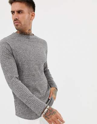 Asos DESIGN Longline Long Sleeve T-Shirt In Twisted Interest Rib With Curved Hem