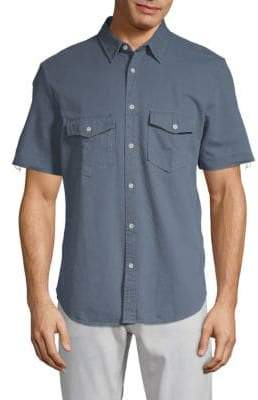 7 For All Mankind Short-Sleeve Cotton Button-Down Shirt