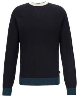 Knitted sweater in Italian Pima cotton with contrast details