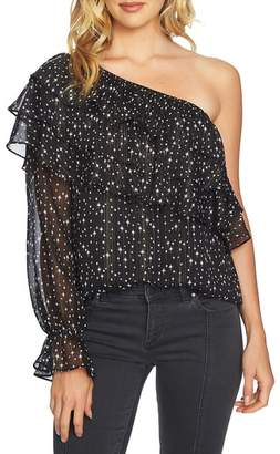 1 STATE 1.State One-Shoulder Tiered Blouse