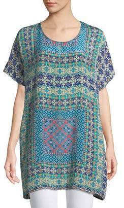 Tolani Tiffany Printed Silk Tunic w/ Keyhole Back, Plus Size