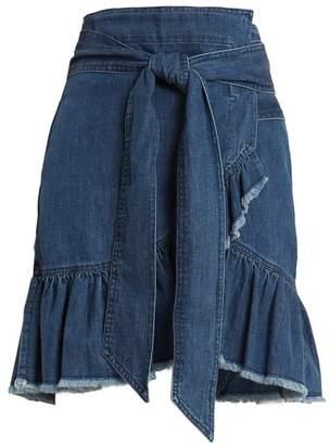 Etoile Isabel Marant Lindy Asymmetric Cotton Denim Wrap Skirt - Womens - Dark Blue