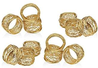 Godinger Set of 12 Gold Round Mesh Napkin Rings