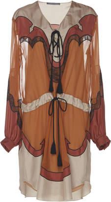 Alberta Ferretti Silk Canvas Drawstring Dress