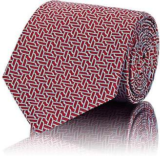 Brioni Men's Chain-Pattern Silk Jacquard Necktie - Red
