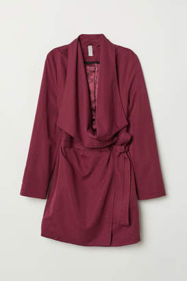 H&M Coat with Draped Lapels - Red