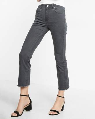Express Gray High Waisted Raw Hem Stretch Bell Cropped Pant