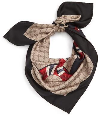 Gucci Snake Print Silk Scarf