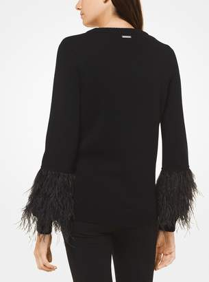 MICHAEL Michael Kors Wool-Blend Feather-Cuff Pullover