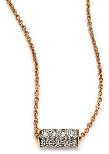 ginette_ny Women's Diamond& 18K Rose Gold Mini Straw Necklace