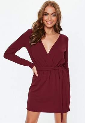 Missguided Burgundy Crepe Tie Waist Dress