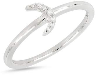 Bony Levy 18K White Gold Diamond Accent Half Moon Ring - 0.04 ctw