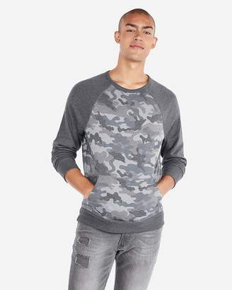 Express Vintage Color Block Camo Crew Neck Popover Sweatshirt