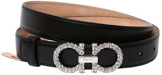 Salvatore Ferragamo 25mm Embellished Reversible Leather Belt