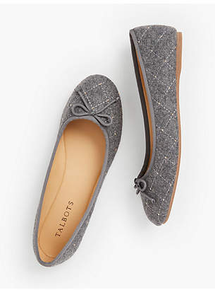 Talbots Penelope Quilted Ballet Flats - Studded Charcoal Grey Flannel